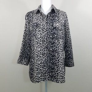 Notations Animal Print Long Sleeve Top Size PL